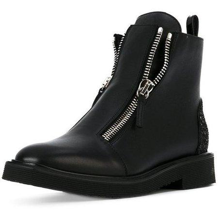 FSJ Women Glitter Ankle Combat Boots Chunky Low Heels Round Toe Flats