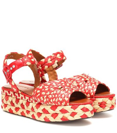 Artemis raffia platform sandals