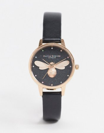 Olivia Burton rainbow lucky bee watch in black | ASOS