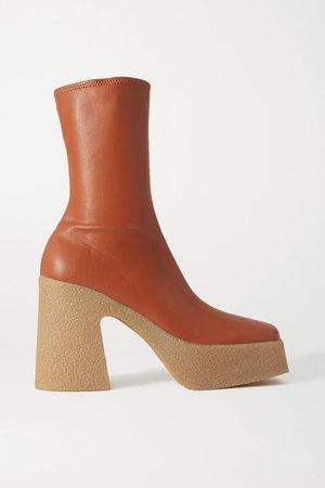 Vegetarian Leather Platform Ankle Boots - Beige