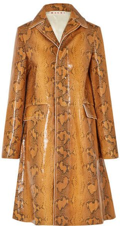 Snake-effect Leather Coat - Brown