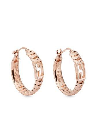 Fendi small Baguette logo chain hoop earrings - FARFETCH