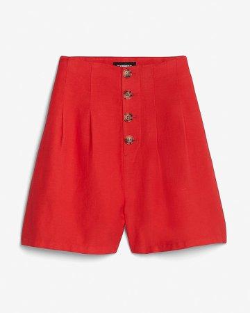 Super High Waisted Linen-Blend Shorts