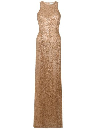 Galvan gold sequin racer back gown
