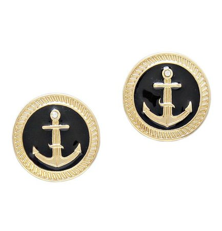 anchor disc stud earrings