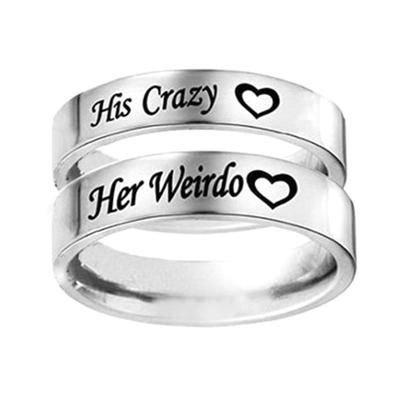 Titanium Steel Cute 'Her Weirdo, His Crazy' Couple Ring