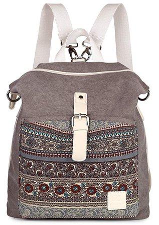Amazon.com: ArcEnCiel Women Girl Backpack Canvas Rucksack Shoulder Bag (Gray): Sports & Outdoors
