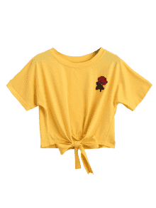 Yellow rose crop top