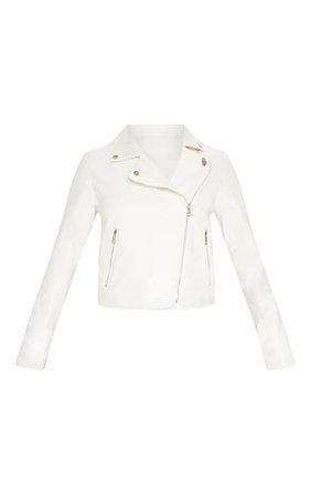 White Pu Biker Jacket | Coats & Jackets | PrettyLittleThing