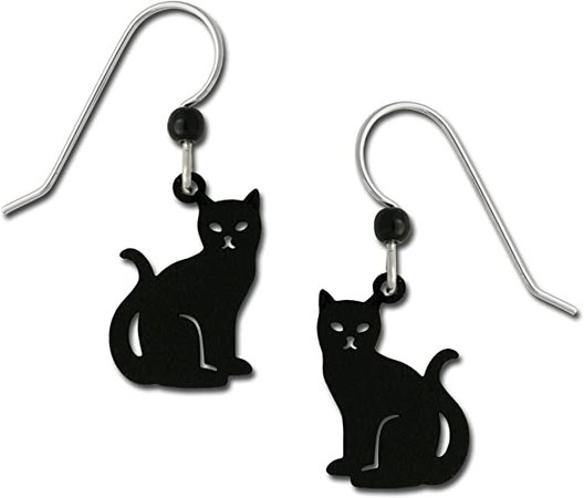 Amazon.com: Sienna Sky Niki Black Cat Kitty Hand Painted Earrings with Gift Box Made in USA: Jewelry