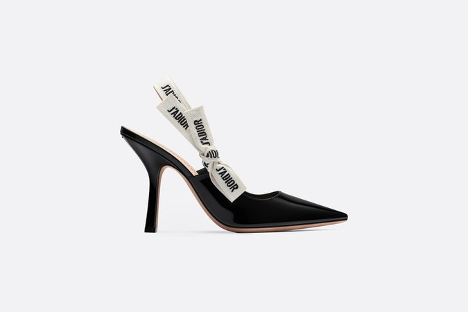 J'Adior slingback in black patent calfskin leather - Shoes - Women's Fashion | DIOR