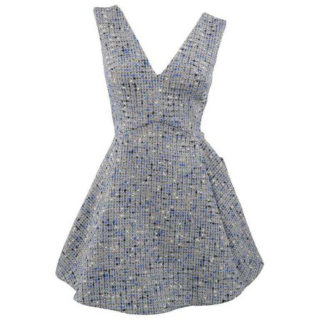 Christian Dior Blue Wool Blend Tweed V Neck Pleated Skirt Cocktail Dress at 1stdibs