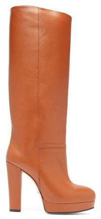 Round Toe Knee High Leather Boots - Womens - Tan