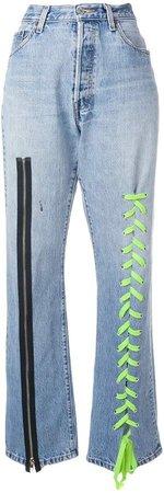 Danielle Guizio zip and lace-up detail jeans
