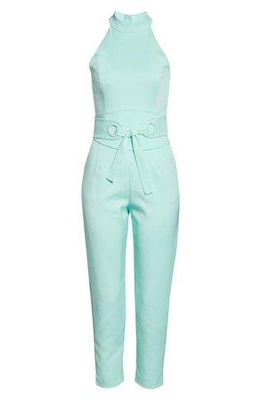 LAVISH ALICE Eyelet Belted Sleeveless Jumpsuit | Nordstrom