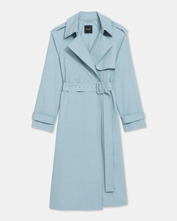 Essential Trench Coat in Cotton-Silk | Theory