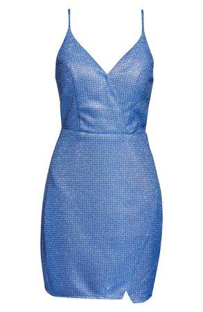 Sequin Hearts Glitter V-Neck Sheath Dress blue