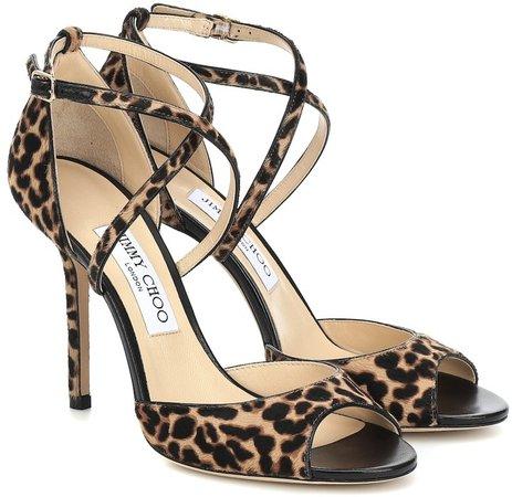 Emsy 100 leopard-print calf-hair sandals