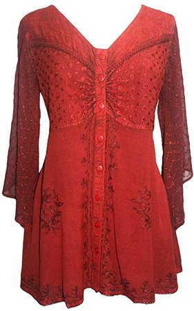 18607 B Medieval Button Down Sheer Lace Sleeve Top Blouse (M, Silver) at Amazon Women's Clothing store