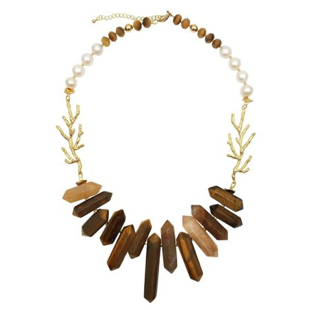 Tiger Eye Stones, Freshwater Pearls & Bamboo Charms Statement Necklace | Farra | Wolf & Badger