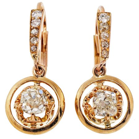 Gold Diamond Victorian Earrings