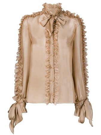 Dolce & Gabbana Ruffled Detail pussy-bow Blouse - Farfetch