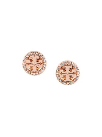 Tory Burch Crystal Logo circle-stud Earrings - Farfetch