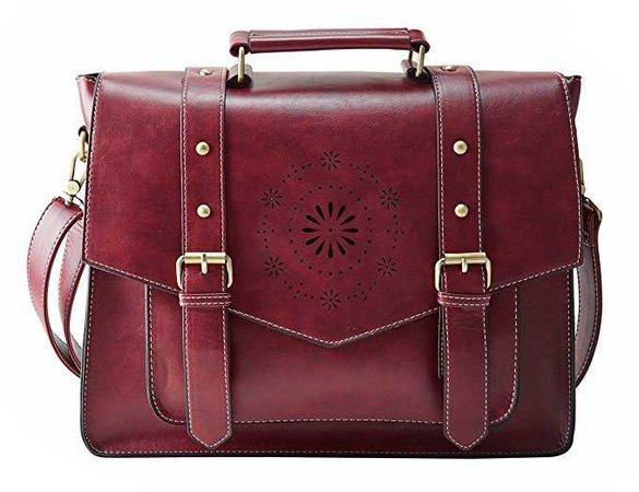 "Amazon.com: ECOSUSI Women's PU Leather Laptop Bag Tote Messenger Bag Crossbody BriefcaseFit 14"" Laptop, Red: Computers & Accessories"