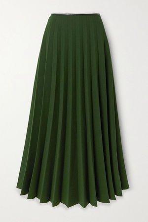 Dark green Pleated crepe skirt | Peter Do