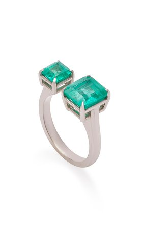 18K White Gold and Emerald Ring by Maria Jose Jewelry | Moda Operandi