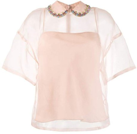 embellished collar silk top