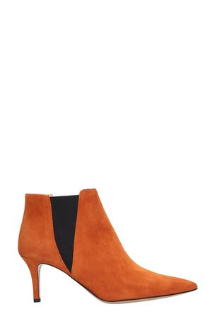 Fabio Rusconi High Heels Ankle Boots In Orange Suede