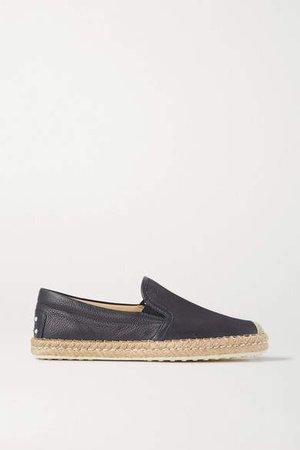 Gomma Textured-leather Espadrilles - Black