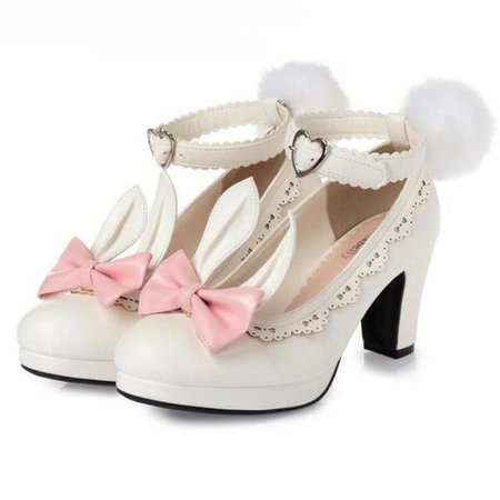 Bunny Ear Sweet Lolita Heels Harajuku Dress Shoes   DDLG Playground