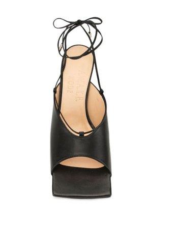 A.w.a.k.e. Mode Square Toe Kitten Heel Sandals SH23BLK Black   Farfetch