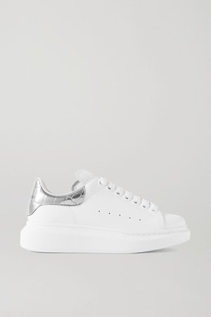 Metallic-trimmed Leather Exaggerated-sole Sneakers - White