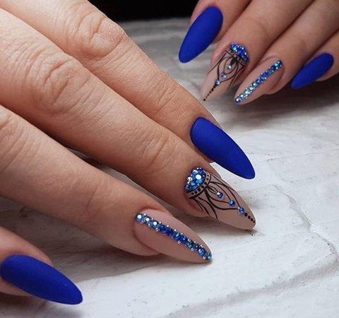 Matte Blue Sparkle Nails