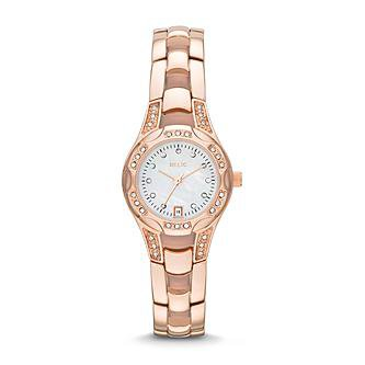 Relic Ladies Calendar Date Watch with White Mother-of-Pearl Dial and Rose Gold IP Bracelet