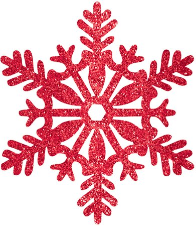 Decoration 11 Red Glitter Snowflake - eSaveBig.com