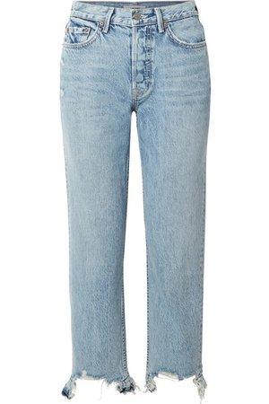 GRLFRND | Helena distressed high-rise straight-leg jeans | NET-A-PORTER.COM