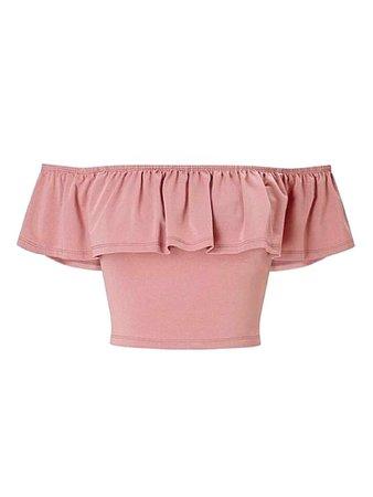 Nude Pink Bardot Frill Crop Top
