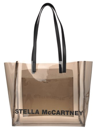 Stella Mccartney Stella Mccartney Transparent Logo Print Tote Bag