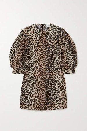 Leopard-print Cotton-poplin Mini Dress - Leopard print
