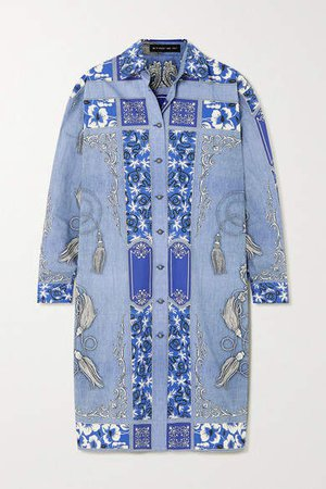 Printed Cotton Shirt Dress - Blue