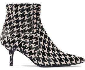Houndstooth Calf Hair Ankle Boots