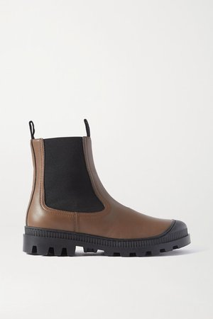 Rubber-trimmed Leather Chelsea Boots - Army green