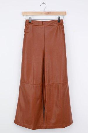 Vegan Leather Culottes - Faux Leather Pants - Brown Culottes - Lulus