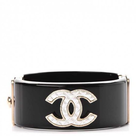 CHANEL Resin Quilted CC Cuff Bracelet Black 241966