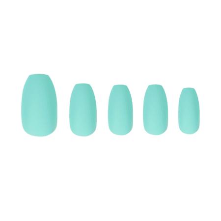 Marmalade Nails 5th AVe | Matte Aqua Coffin Press-on Manicure