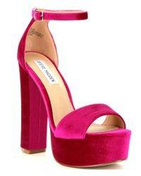 Steve Madden Gonzo Velvet Ankle Strap Block Heel Platform Sandals in Pink - Lyst